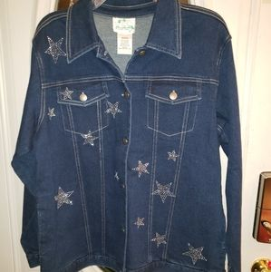 NWT Quackery Factory Dark Denim Rhinestone Jkt